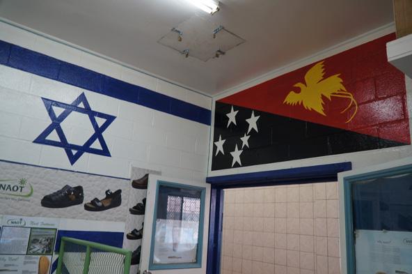 דגל ישראל ומתחתיו תמונות של סנדלי טבע נאות. מימין: הדגל של פפואה ניו גיני