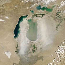 מפת סופת אבק מעל ימת ארָל, קזחסטן ואוזבקיסטן