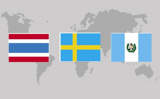 קו המשווה – גואטמלה, שוודיה, תאילנד