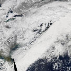 """מפת שיא של שלגים כבדים במזרח ארה""""ב"""