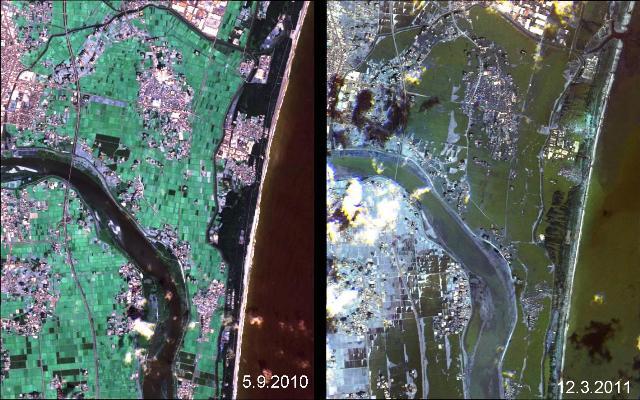 חופי יפן: לפני ואחרי הצונאמי