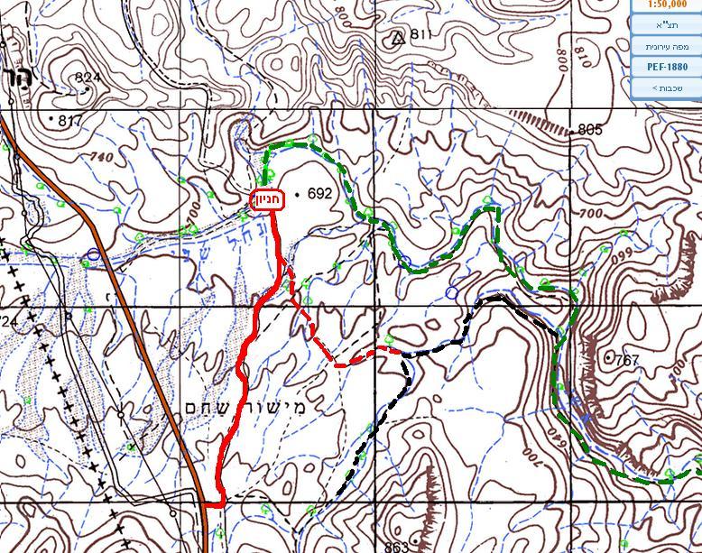 מפת נחל שני – הקניון האדום