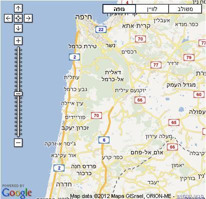 עדכון מעודכן מפת הכרמל וחופו - מפות בעברית באתר מסע אחר לתכנון טיול בהכרמל וחופו WZ-38