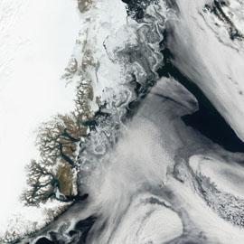 מפת ים הקרח שמול חופי גרינלנד, דנמרק