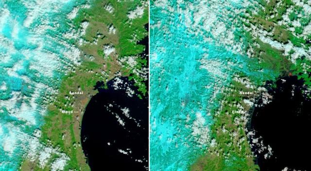 כך נראה הצונאמי ביפן מהחלל