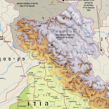 מגה וברק מפת צפון הודו - מפות בעברית באתר מסע אחר לתכנון טיול בצפון הודו ZP-94