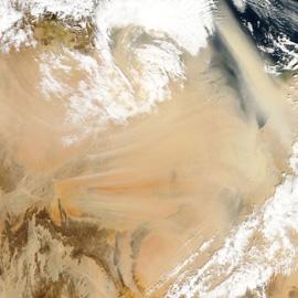 מפת סופת אבק מעל צפון אפריקה, אלג'יריה