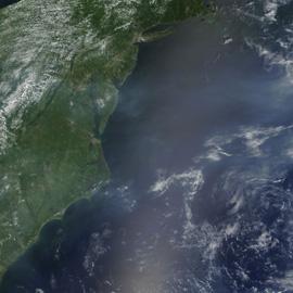 """מפת זיהום אוויר במזרח ארה""""ב"""