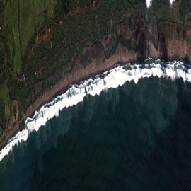 מפת נזקי הצונאמי באי ג'אווה, אינדונזיה