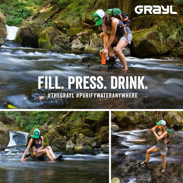 בקבוק לטיהור מים של חברת GRAYL