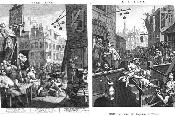 """התחריטים של הוגארט מ-1751, """"רחוב הבירה וסמטת הג'ין"""""""