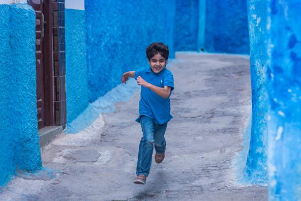 סמטאות צבועות בכחול בקסבת אל-הודיה