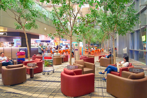 פינת ישיבה נעימה בשדה התעופה צ'נגי, הנחשב לטוב בעולם