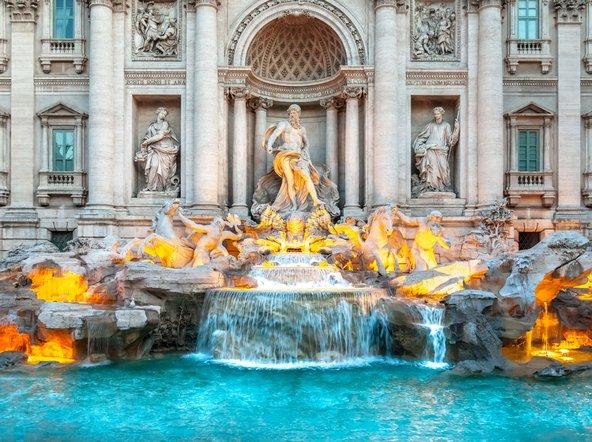 פונטנה די טרווי, אחת המזרקות היפות והמפורסמות ברומא