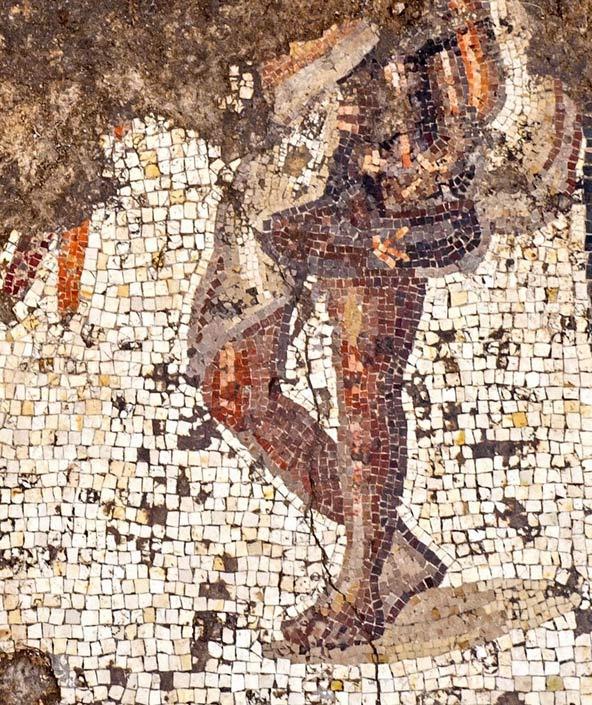 קטע מרצפת הפסיפס הנדירה שנחשפה בקיסריה