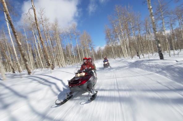 אופנועי שלג ברכסים מעל העיר מונטצ'ה גורסק
