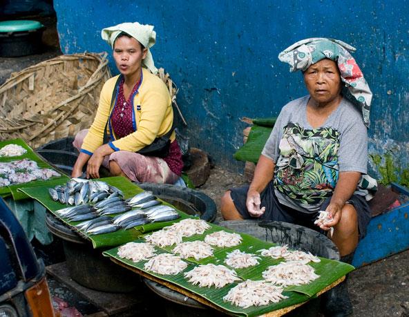 מוכרות בשוק דגים ליד אגם טובה בסומטרה
