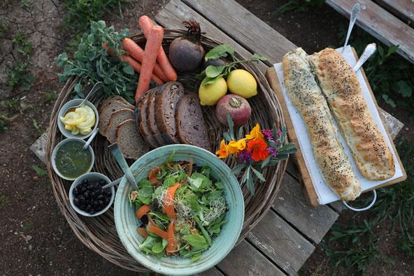 ארוחה צמחונית בבית הקונטניירים בלוזית | צילומים: אלדד מאסטרו