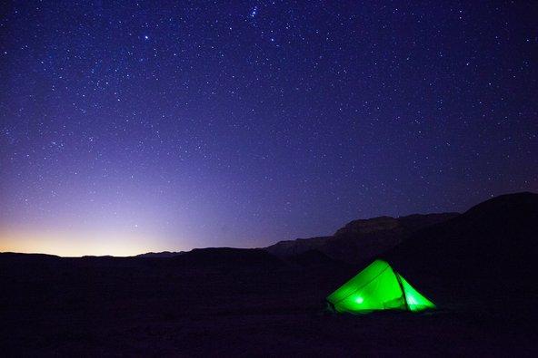 אוהל בפארק תמנע, שם עובר אחד ממקטעי השביל