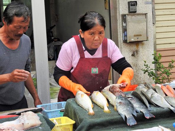 שוק מקומי בטיינאן. הניקיון ניכר בכל פינה, גם בשווקים