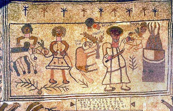 הפסיפס המתאר את עקדת יצחק בבית הכנסת העתיק בגן הלאומי בית אלפא