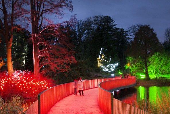 אזור האגם מואר בתאורה מיוחדת לקראת חג המולד
