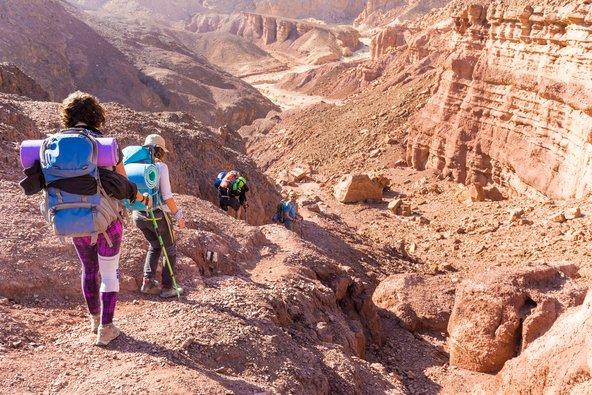 מטייילים בנופים המדבריים של שביל ישראל