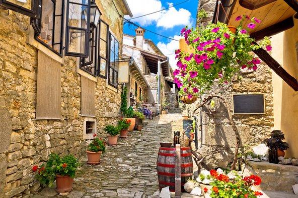 רחוב מרוצף אבן בהום עם בתי אבן עתיקים ועציצים פורחים