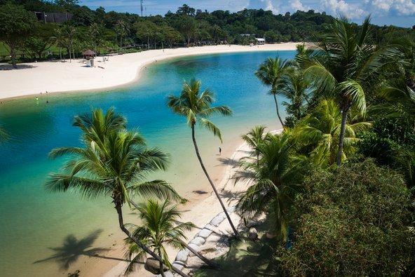 חוף Palawan באי סנטוסה. אמנם מלאכותי אך בהחלט חלומי