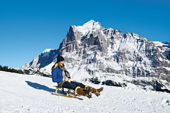 גלידה במזחלות בגרינדלוולד, מאתרי הסקי הציוריים בשווייץ | צילום: Switzerland Tourism