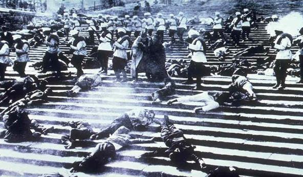 הטבח על המדרגות, מתוך סרטו של סרגיי אייזנשטיין. הסצנה לא התרחשה במציאות, אבל השם דבק במדרגות