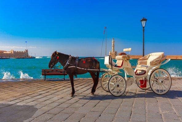 כרכרה רתומה לסוס בנמל של חאניה. מרחוק ניתן לראות את המגדלור שהפך לסמלה של העיר