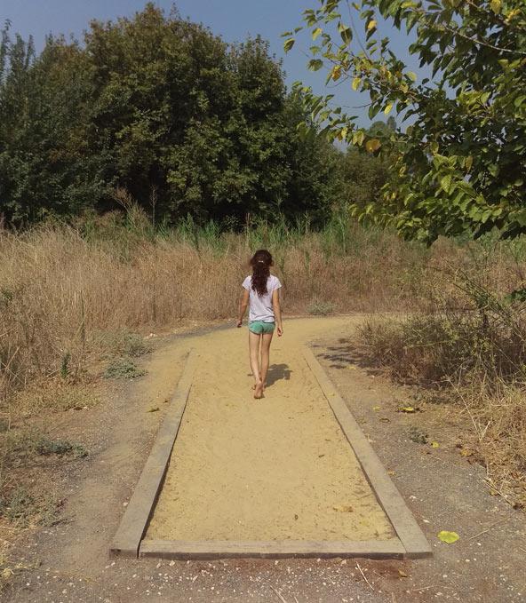 הליכה ברגליים יחפות בפארק חושים בנחל שניר | צילום: יניב שאואר