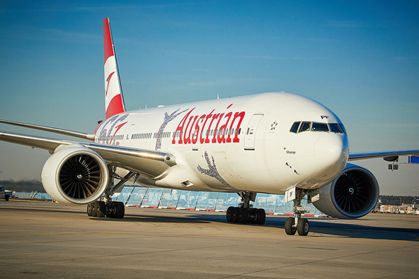 מטוס של אוסטריאן איירליינס. 18 טיסות שבועיות בקו תל אביב - וינה
