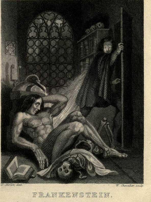 עטיפת הספר פרנקשטיין של מרי שלי משנת 1831