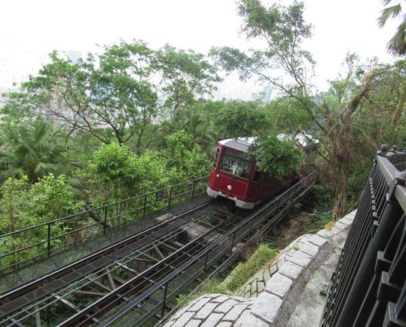 הרכבת הקטנה נוסעת על המסילה התלולה לראש פסגת ויקטוריה