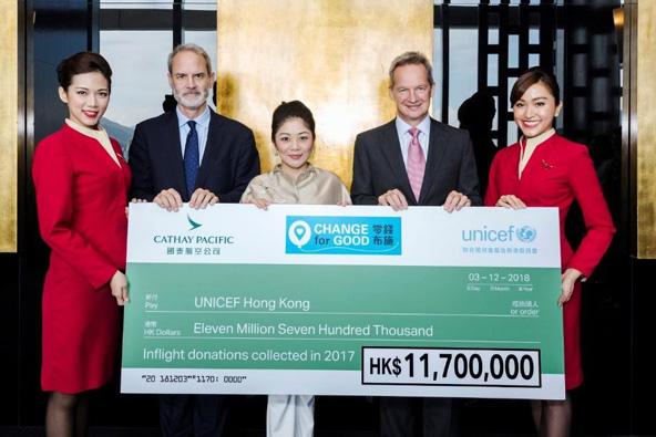 """רופרט הוג, מנכ""""ל קתאי פסיפיק (שני מימין), מציג את כספי התרומה ל-UNICEF"""
