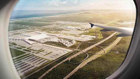 שדה התעופה החדש של איסטנבול מבעד חלון המטוס