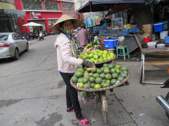 לצד השווקים ודוכני הרחוב, מסתובבות נשים עם סחורה על אופניים או בסלי קש התלויים משני צדי מוט
