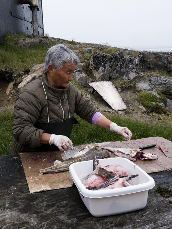 האינואיטים אוכלים בעיקר דגים או בשר לווייתנים. ירקות או פרות טריים לא גדלים באי