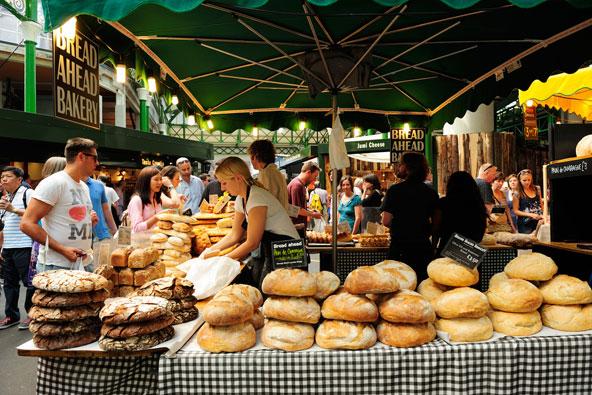 דוכן לחמים בשוק בורו בלונדון