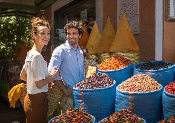 סיור בשווקים הצבעוניים של מרקש הוא חלק מחוויית חמשת החושים