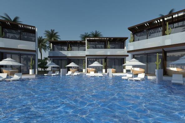 הבריכה של המלון החדש שייבנה על רצועת חוף פרטית בים המלח
