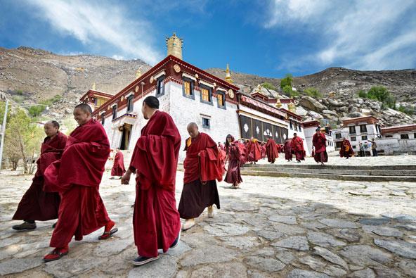 נזירים ליד מנזר סרה בטיבט | צילום: Hung Chung Chih / Shutterstock.com