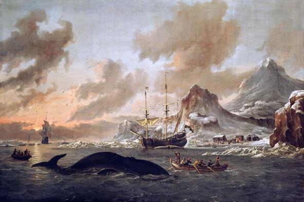 ציד לווייתנים בשפיצברגן, נורווגיה. ציור מסוף המאה ה-17