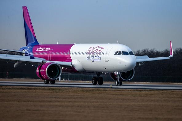 מטוס של חברת וויז אייר, המפעילה מישראל ואליה 24 קווים לעשר מדינות באירופה