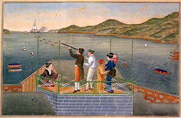 ציור יפני המראה סוחרים הולנדיים על האי דג'ימה