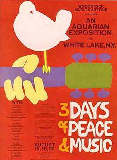 3 ימים של שלום ומוזיקה - הפוסטר של פסטיבל וודסטוק. המארגנים קיוו ל-50,000 משתתפים, לפסטיבל הגיעו חצי מיליון