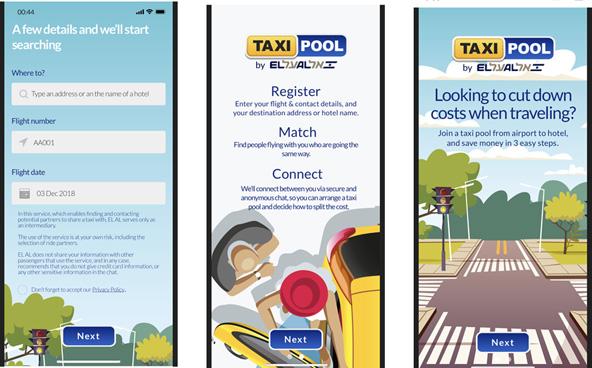 טקסי פול: חיפוש אחר נוסעים נוספים שאפשר לחלוק איתם מונית משדה התעופה