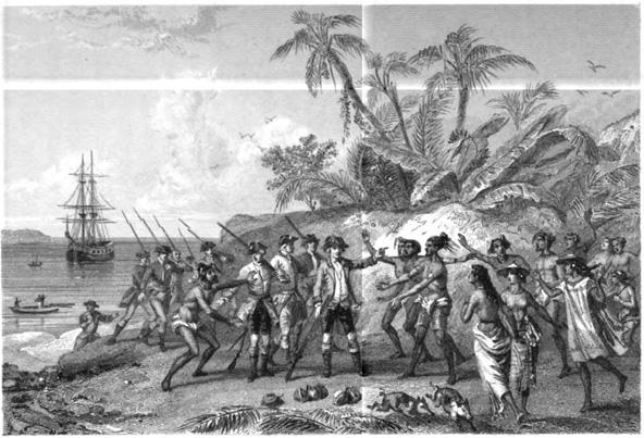 איור משנת 1846 המתאר את רב החובל אנטואן דה בוגנוויל מגיע לטהיטי